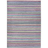 RUGGABLE Washable Stain Resistant Indoor/Outdoor, Kids, Pets, and Dog Friendly Area Rug, 5'x7', Striped Multicolor