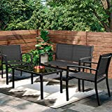 Greesum 4 Pieces Patio Furniture Set, Outdoor Conversation Sets for Patio, Lawn, Garden, Poolside with A Glass Coffee Table, Black