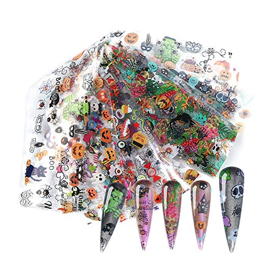 Halloween Nail Foil Transfers Stickers Day of the Dead Nail Foils 10 Rolls Pumpkin Spider Skull Ghost Witch Nail Decals for Halloween Party Supplies Manicure Tips Wraps Nail Art Decoration Designs