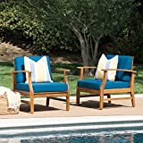 Christopher Knight Home Perla Outdoor Acacia Wood Club Chairs with Water Resistant Cushions, 2-Pcs Set, Teak Finish / Blue
