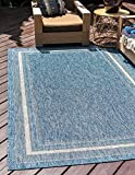 Unique Loom Outdoor Collection Transitional Indoor & Outdoor Casual Solid Tonal Border Area Rug, 5 x 8 Feet, Blue/Beige