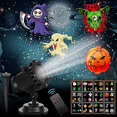 Christmas Lights,UNIFUN 12 Patterns LED Projector Lights with red...