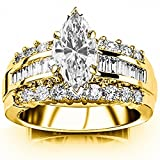 1.6 Carat t.w. GIA Certified Marquise Cut 14K Yellow Gold Channel Set Baguette and Round Diamond...