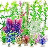 YMHPRIDE 22 Piezas de Plantas de plstico para Acuario, Plantas acuticas Artificiales, Plantas hidropnicas de simulacin, Plantas acuticas Falsas, decoracin de Acuario