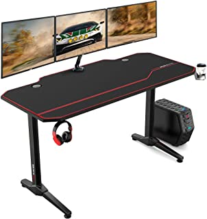 """AuAg 55"""" Enhanced Larger Gaming Desk with Free Mouse Pad, Cup Holder Headphone &.."""
