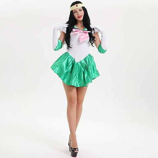 Baipin Disfraz De Sailor Moon Anime Cosplay, Verde Vestido y Guantes Blancos Arco de Princesa Vestido Uniforme de Juego para Mujer, Talla M, Longitud 82cm