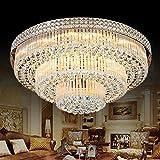 KALRI Modern K9 Crystal Chandelier Flush Mount LED Ceiling Light Fixture Pendant Lamp for Living Room Bar Shop (Dia 23.6'')