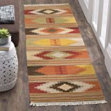 Safavieh Navajo Kilim Collection NVK177A Hand Woven Red and Multi Wool Runner (2'3' x 6')