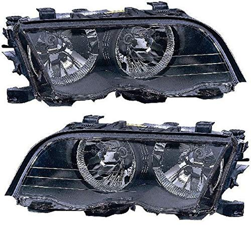 Headlight Set Compatible with 2001 BMW 330xi 330i Left Driver and Right Passenger Side Halogen With bulb(s)