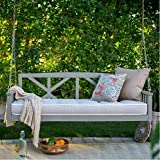 Modern Cottonwood Deep Seating Porch Swing Bed with Cushion Constructed of Eucalyptus Wood in Gray Glaze Finish 64L x 28D x 21H in.