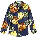 SSLR Chemise Hawaiien Garçon Manche Longue Casual en Coton Imprimé Ananas (Small, Marine)