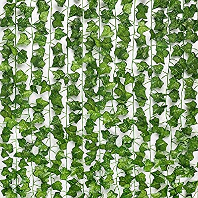 """Size of ivy vines: 78.7 inches / 2 meters each vine leaf garland, with two sizes of artificial ivy leaves. Large hanging leaves: about 4.5 cm * 4.5 cm / 1.77 inches * 1.77 inches, small hanging leaves: about 3.5 cm * 3.5 cm / 1.37 """"* 1.37"""" Material o..."""