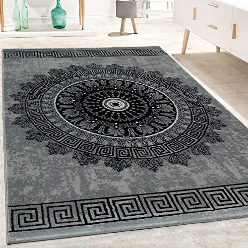 Tappeto di Design Soggiorno Motivo Mandala Pelo Corto Stile Barocco in Grigio Nero, Dimensione:160x230 cm