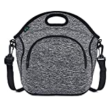 Neoprene Lunch Tote Bag Small Washable Lunchbox Bag, Non-toxic Insulated Collapsible Lunch Bag with Shoulder Strap Front Zipper Pocket (Gray N2) for Office Picnic by F40C4TMP
