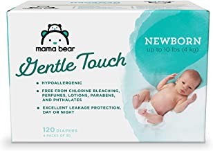 Amazon Brand – Mama Bear Gentle Touch Diapers, Hypoallergenic, Newborn, 120 Count..