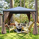 MASTERCANOPY Hardtop Gazebo PatioPolycarbonate Gazebo Canopy with Brown Mosquito Netting Screen Walls Curtains,DL-D33(10ft×10ft)