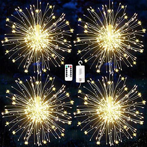 Luci Fuochi d'Artificio,Luci Fatate Natalizie, Luci Natalizi da Esterno,Catena Luminosa Filo di Rame con 120 LED,Luci Addobbi Natalizi,Stringa Lampada Luci 8 modalit