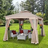 ASTEROUTDOOR 10x10 Outdoor Gazebo for Patios Canopy for Shade and Rain with Corner Shelves Soft Top Metal Frame with Mosquito Netting for Lawn, Backyard and Deck, 99% UV Rays Block, Khaki
