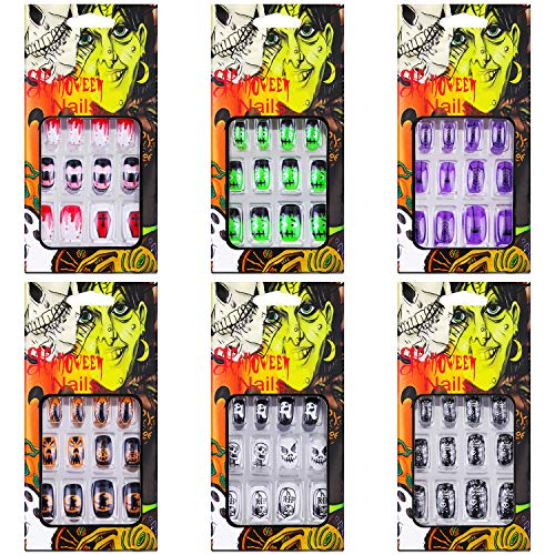 72 Pieces Halloween False Nails Artificial Fake Short Fingernails Nail Tips Kit Halloween Gothic Fake Nails with 6 Jelly Glue for Nail Art Salon DIY Decoration, 12 Sizes in 6 Boxes