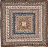 Safavieh Braided Collection BRD313A Hand Woven Brown and Multi Square Area Rug (6' Square)