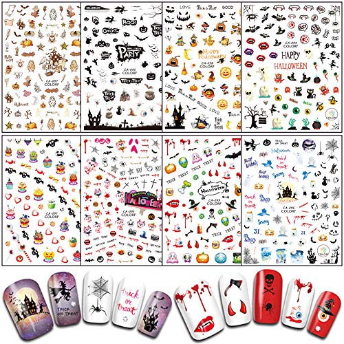 Halloween Nail Stickers Decals DIY Nail Art Tips Accessories 8 Sheets Pumpkin Witch Spider Bat Ghost Eye Nail Art Stickers Self-adhesive Designs Fingernails Toenails Decorations for Halloween Party