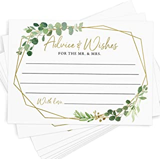 Advice and Wishes, 50 Cards, Gold Greenery Wedding Advice Cards, Bridal Shower Activity,..