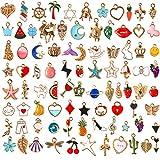 SANNIX 110pcs Assorted Gold Plated Enamel Pendants Necklace Bracelet Charms for Jewelry Making