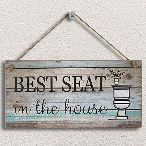 Yankario Funny Bathroom Wall Decor Sign, Farmhouse Rustic Bathroom Decorations Wall Art, 12' by 6' Best Seat Wood...