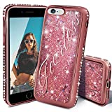 iPhone 8 Case, Miss Arts iPhone 7 Glitter Case, Girls Women Cute Flowing Liquid Holographic Holo Glitter Case with Luxury Bling Diamond Bumper for Apple iPhone 8/7 -Rose Gold