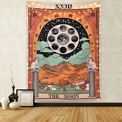 Amknn Tarot tapiz de pared, diseño de la luna, la estrella y el sol, tapiz medieval, para decoración de recámara, hogar, Moon Tapestry, 150cmx130cm