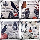 Jetec 4 Pieces Pillow Case Throw Cushion Cover Cotton Linen Pillow Decorations for Halloween Thanksgiving Christmas Autumn, 18 by 18 inch (Color Set 6)