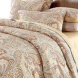 Softta Paisley Bedding Design 800 Thread Count 100% Cotton 3Pcs Duvet Cover Set,Cal King Size,Khaki