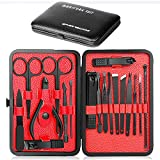 Manicure Set,Epartswide Manicure Kit 18 In 1 Stainless Steel Nail Clippers for Men & Women Professional Pedicure Set Includes Nose Hair Scissors,Ear Pick,Blackhead Remover,and Portable Travel Case