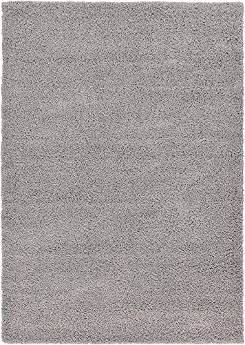 Unique Loom Solo Solid Shag Collection Modern Plush Area Rug, 7' x 10', Cloud Gray