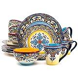 Euro Ceramica Zanzibar Collection 16 Piece Dinnerware Set Kitchen and Dining, Service for 4, Spanish...
