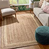 Well Woven Delphina White & Natural Color Hand-Braided Jute Border Pattern Area Rug 8x10 (8'x10')