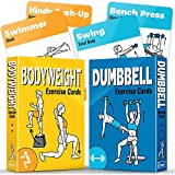 2-Pack Bodyweight & Dumbbell Workout Cards – Perfect Large Size Exercise Cards Deck For Home or Travel – Fitness Cards Includes 100 Different Exercises with Bonus Cards