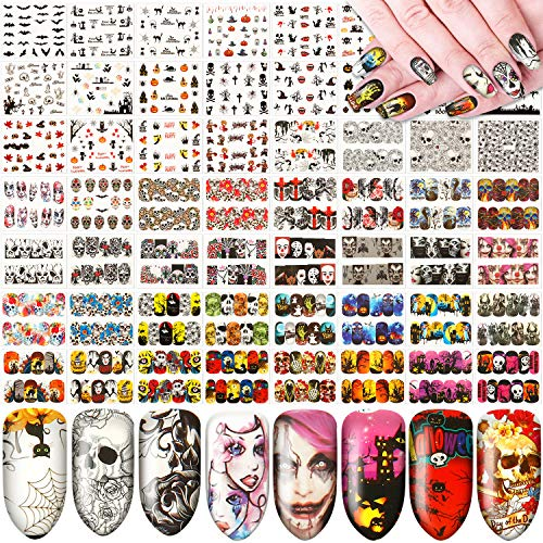 60 Sheets Halloween Nail Art Sticker Day of Dead Nail Decal Water Transfer Nail Art Sticker Skull Ghost Witch Bat Nail Art DIY Sticker for Halloween Party Supply Nail Tips Manicure Decoration