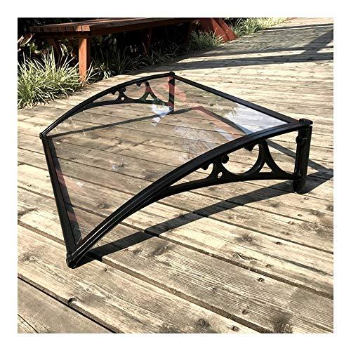 Marquesina Protectora para Puerta O Ventana Toldo para Terrazas Marquesina Canopy Ajuste Fácil Soportes De Aleación De Aluminio Negro (Color : A, Size : 60cmx120cm)