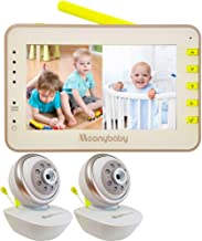 Moonybaby Split 55 Baby Monitor with 2 Cameras, Split Screen Video, Non-WiFi Pan Tilt..