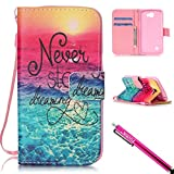 LG Optimus Zone 3 / LG K4 / LG Spree Case, Firefish Kickstand Flip [Card Slots] Wallet Cover Bumper Shell with Magnetic Closure Strap Protective Case for LG Optimus Zone 3 / LG K4 LTE/LG Spree
