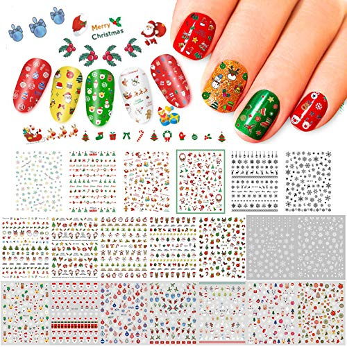 Whaline 20 Sheets Christmas Nail Art Stickers, 3D Self-Adhesive Stickers Santa Claus Reindeer X-mas Tree Bells Snowflakes Decals for Women Girls Kids Manicure DIY or Nail Salon (More Than 2000Pcs)