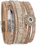 styleBREAKER Bracelet amulette Ethnique, Pendentif Plume, Pierres de...