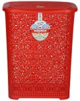 Material: Plastic, Color: Red Package Contents: 1 Laundry basket with Lid 55 cm x 41 cm x 31 cm Laundry basket is a perfect space saver and ideal to use anywhere