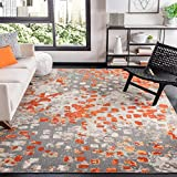 Safavieh Madison Collection MAD425H Boho Abstract Distressed Non-Shedding Stain Resistant Living Room Bedroom Area Rug, 8' x 10', Grey / Orange