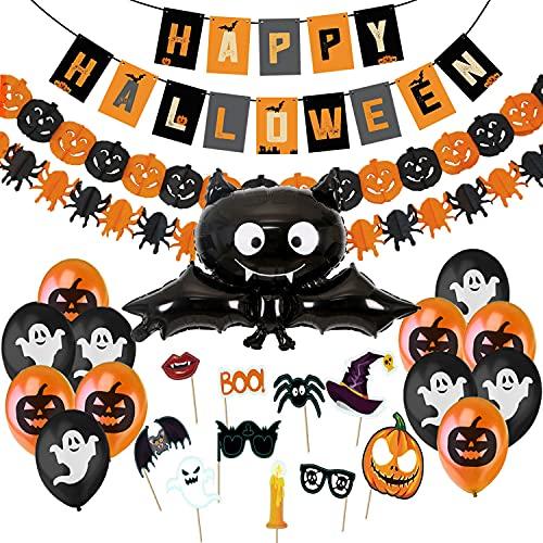 Decoracion Halloween Casa,Bandera Banderinas Happy Halloween,Guirnaldas Calabaza y...