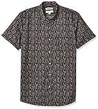Marque Amazon - Goodthreads Chemise à manches courtes en popeline imprimée pour homme, coupe ajustée, Pink Mini Floral, US L Tall (EU L)