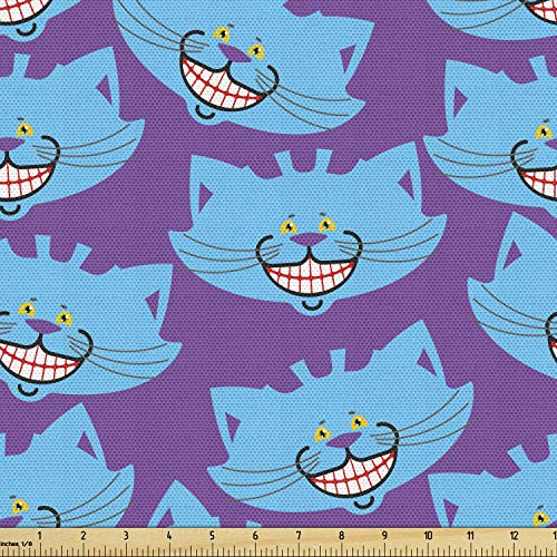 Lunarable Alice in Wonderland Fabric by The Yard, Cheshire Cat Cartoon Animal Design on Purple Background, Decorative Fabric for Upholstery and Home Accents, 3 Yards, Purple Blue
