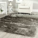Safavieh Paris Shag Collection SG511-7575 Handmade Silken Glam Area Rug, 5' x 7', Silver