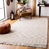 Safavieh Natura Collection NAT852B Hand-Woven Wool Area Rug, 5' x 8', Ivory